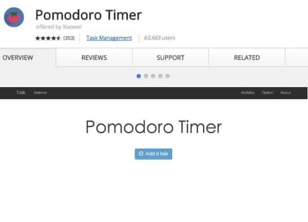 Pomodoro - Application Chrome - http5000