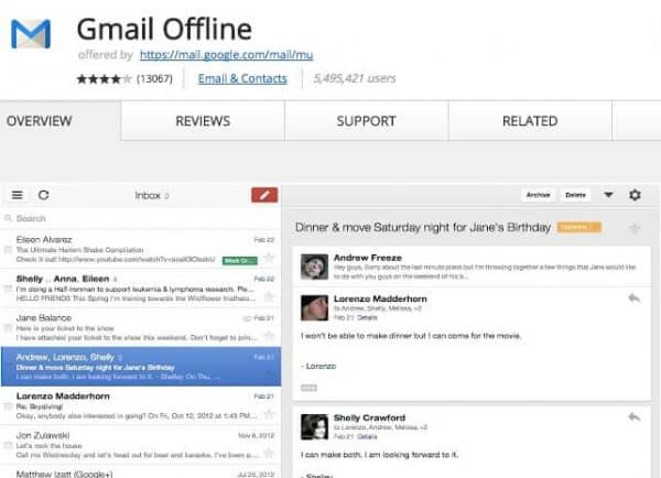 Gmail offline - Application Chrome - http5000